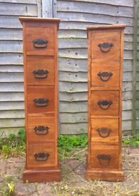 Two Indian sheesham wood 5 drawer chest/ CD storage