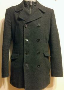 Oakville MENS SMALL 36 38 MEXX WOOL PEA JACKET Spring Coat Wool Blend Charcoal Gray Tweed Neck Warmer Insert Like New