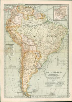1903  Large Colour Map SOUTH AMERICA THE ISTMUS OF PANAMA (EB111)