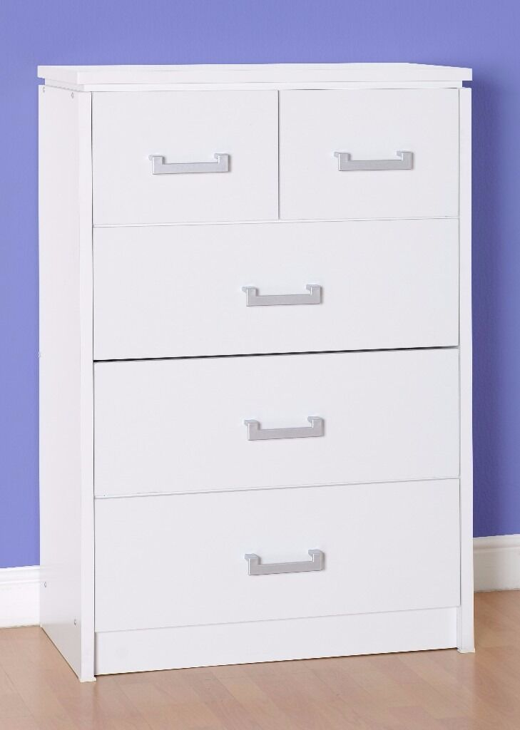 NEW Charles 3+2 large chest of drawers in white or light oak effect only £125