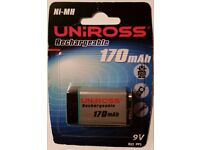 UniRoss Ni-Mh 170 mAh 9V Rechargeable battery . Unopened packet