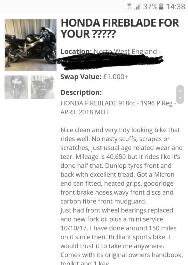 Honda fireblade 918rr