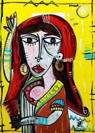 Contemporary painting, original single piece, mixed technique on canvas, size: 19,6×27,5″, SIVIGLIA