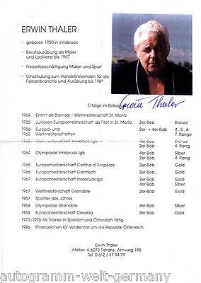 Erwin Thaler TOP  Original Signiert Rodeln +A46463