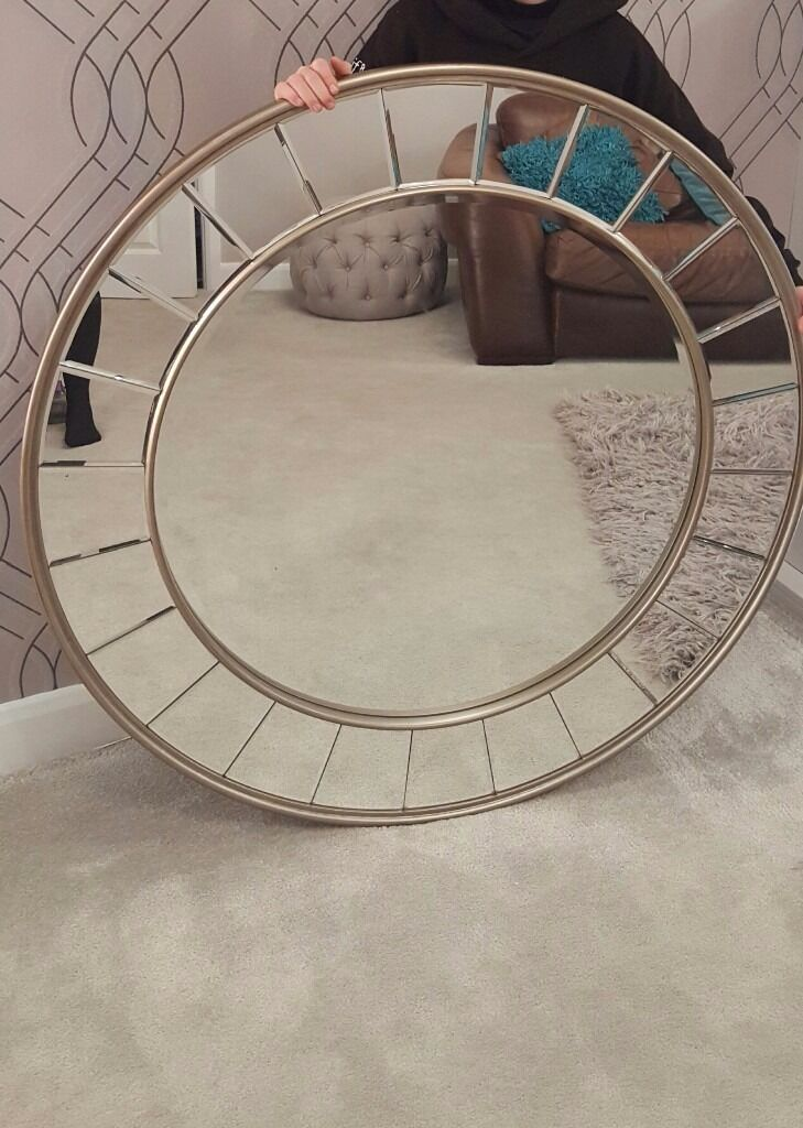Laura Ashley large round mirror LIKE NEW champagne gold colour