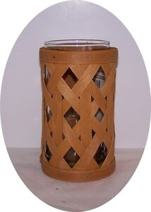 Longaberger RARE Trellis Small Hurricane Basket WARM BROWN WB with Glass NEW