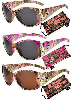 Hornz Pink Camouflage Polarized Sunglasses Genuine Camo Rhinestones (Sunglasses Disguise)
