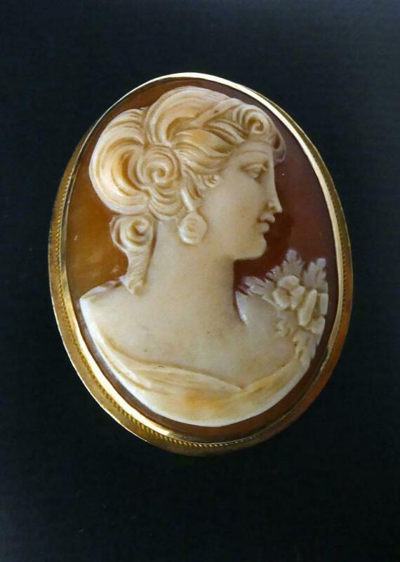 14K K14 Gold Hand Carved Shell Cameo Wearing Earring Pendant Brooch Fine Quality