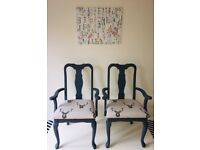 2 x grey carver chairs