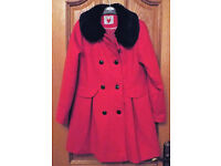 Girls Red Coat With Faux Fur Collar Size 9-10