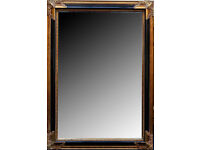 Large antique continental neo-classical wall mirror, having scrolling gilded decoration border