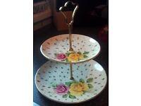 vintage cake stand/royal falcon wear fluer-de-lis