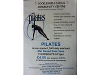 PILATES CLASSES THURSDAYS 615pm - 7pm Cockleshell Community Centre, Eastney Pay As You Go £4.50