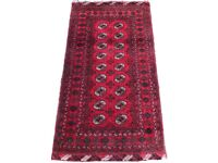 RED GROUND PERSIAN RUG CARPET MULTIPLE BORDERS, REPEATING MEDALLIONS, 185x100cm