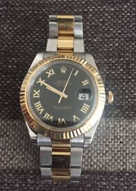 Reduced to sell- Preowned Beautiful Genuine Rolex Date Just 2 , 41 mm, Gold Roman Numbers.