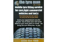 Mobile tyre fitting and puncture repairs for cars,vans and taxi