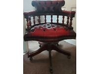 Chesterfield-style Red Captains Chair