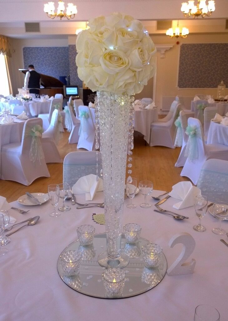 6 X 60cm Clear Tall Glass Conical Vase Wedding Centrepiece Cone