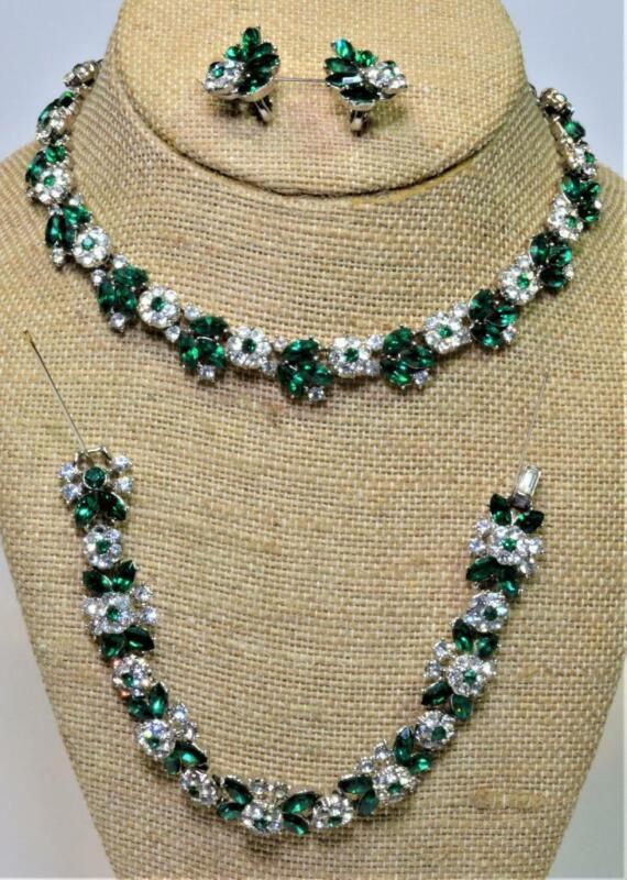 1950s TRIFARI Crown  Green Rhinestones Parure Set Necklace Bracelet Earrings