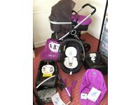 CHICCO URBAN Pram Pushchair Car Seat Isofix Base Travel System 3 in 1 Purple