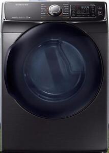 Sécheuse électrique à chargement frontal de 7,5 pi³ en Acier inoxidable Noir Samsung ( DV50K7500EV )