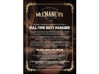 Full-time Duty Bar Manager