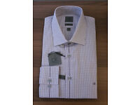 New Calvin Klein Long Sleeve Slim Fit Checked Formal Shirt Purple Grey Size 16,16.5