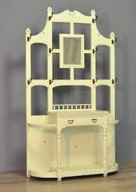 Painted Large Antique Edwardian Carved Oak Mirror Back Hall Coat Stick Stand