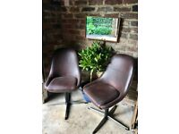 Vintage Retro Mid Century Swivel Chairs x 4