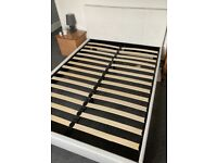 White leather double bed frame