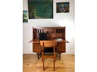Mid-Century Teak Chest of Drawers / Writing Desk / Bureau by Meredew FREE LOCAL DELIVERY