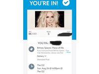 Britney Spears tickets x 2 - o2 arena - Sunday 26th August - block 111- price is for both