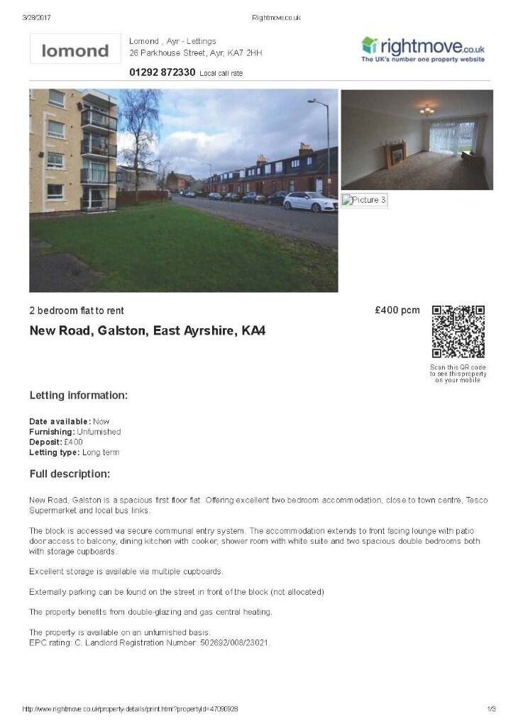 Galston: Spacious 2 Bed 1st floor flat with secure access. (Unfurnished)