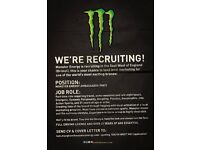 Monster Energy Marketing Ambassadors, Part-Time, Sampling & Event Work