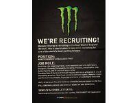 Monster Energy Marketing Ambassadors, Part-Time, Sampling & Event Work