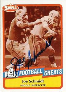 JOE-SCHMIDT-SIGNED-SWELL-FOOTBALL-GREATS-CARD-PRO-FOOTBALL-HALL-OF-FAME