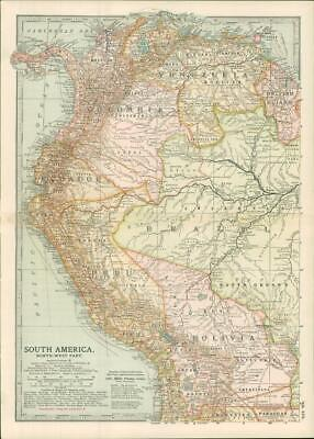 1903  Large Colour Map SOUTH AMERICA North-West Part LIMA QUITO PANAMA  (EB112)