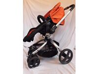 Pram / Pushchair / Carry Cot - Mothercare Spin 360 - Orange and Black