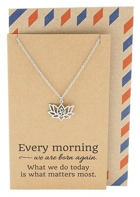 Om Yoga Lotus Flower Namaste Jewelry  Ohm Necklace Pendant  Chakra Charm Gift