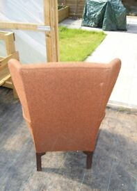 BROWN ARM CHAIR IN GOOD CONDITION FOR ITS AGE