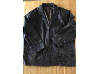 XL Men's leather jacket, dark brown, quality heavy leather with lining. Excellent condition.