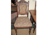 Antique mahogany dining table & four chairs