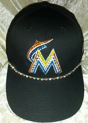 Miami Marlins Womens Rhinestone Bling Black MLB Baseball Cap Hat ~NEW~