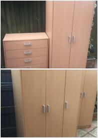 Triple wardrobe + double wardrobe & chest of drawers