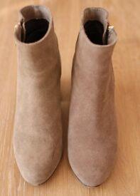 Stradivarius Women Ladies Beige Suede Heel Ankle Boots