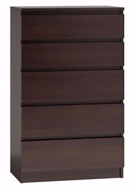 IKEA MALM CHEST OF 5 DRAWERS