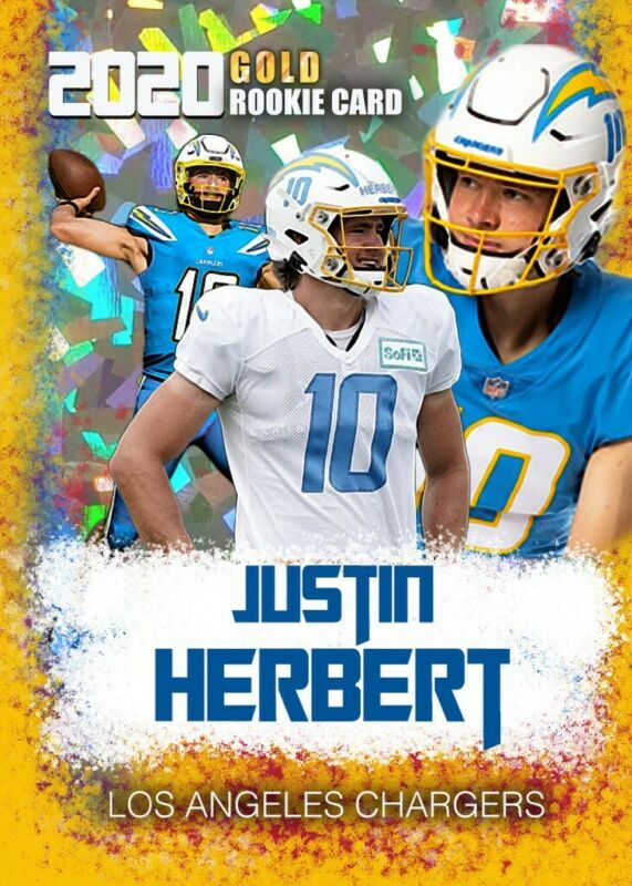 Justin Herbert 2020 Rookie Card Gold Platinum Only 2,000 made LA Chargers