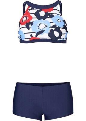 Damen Bustier Bikini mit bedeckender Bikinihose in blau/weiß/rot Gr. 42 - Neu