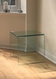 Modern Clear Pure Glass Side Table - 38cm x 38cm x 38cm (1.2cm thick glass)