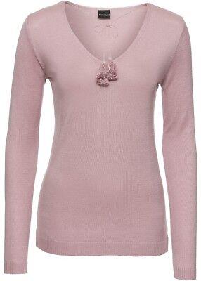 Pullover mit V-Ausschnitt in rosenholz  Gr. 36/38 - Neu